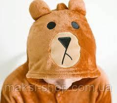 Пижама кигуруми детская р. 110 см бурый мишка