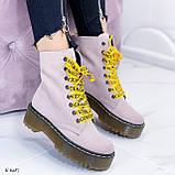 Женские ботинки розовые/ пудра осенние натуральная замша, фото 3