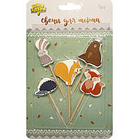 1502-3868 Свечи для торта на пиках Лесные друзья 5шт