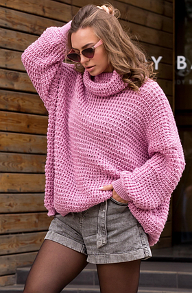 Теплый вязаный свитер оверсайз «Фристайл» (темно-розовый), фото 2