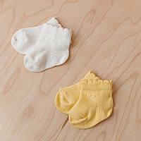 """Детские носочки для новорожденных """"Base"""" молочные и желтые. Размеры: 0-6 и 6-12 мес."""