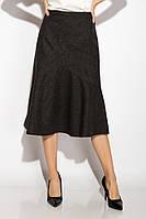 Юбка женская тюльпан теплая шерсть клетка черно-серый 48