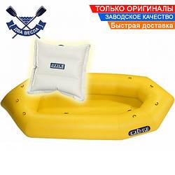Фиш пакрафт надувной каяк Ладья ЛП-245 Стандарт для сплава рыбалки и моря с подушкой в комплекте, желтый
