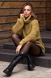 Теплый вязаный свитер оверсайз «Фристайл» (фисташка)