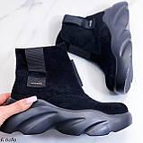 Женские ботинки спортивные ДЕМИ черные эко-замша, фото 2