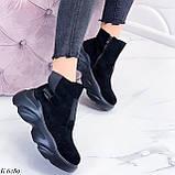 Женские ботинки спортивные ДЕМИ черные эко-замша, фото 3