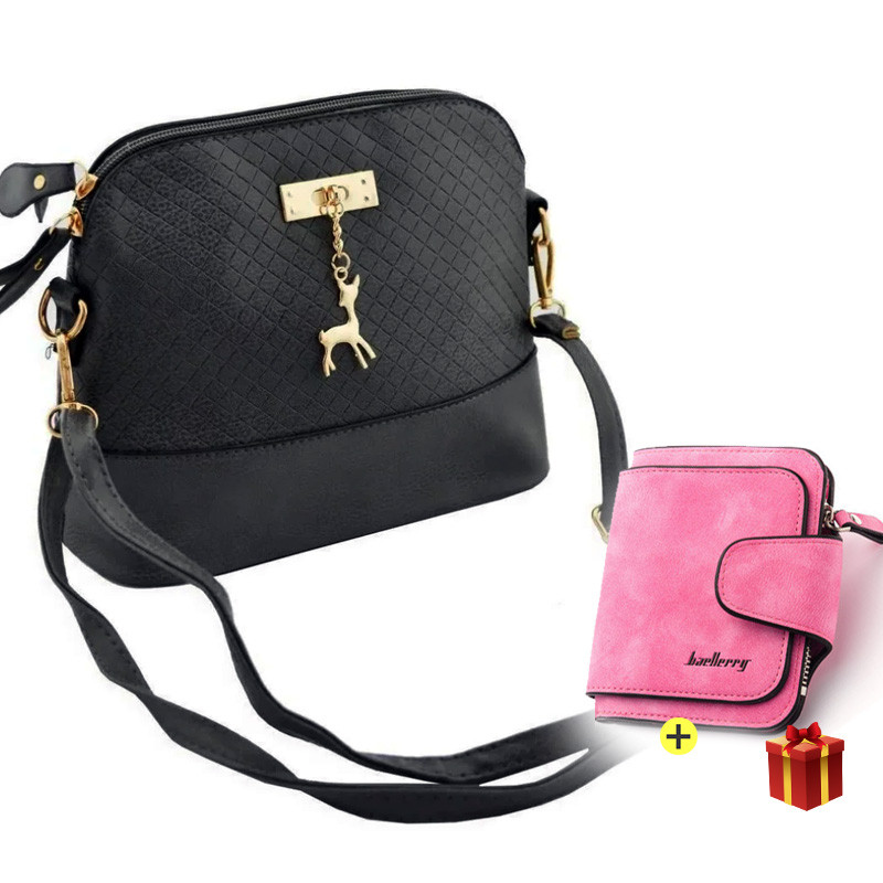 Компактная женская сумка Бэмби + Подарок женский кошелек / Сумка Бемби (23x20x10 см)