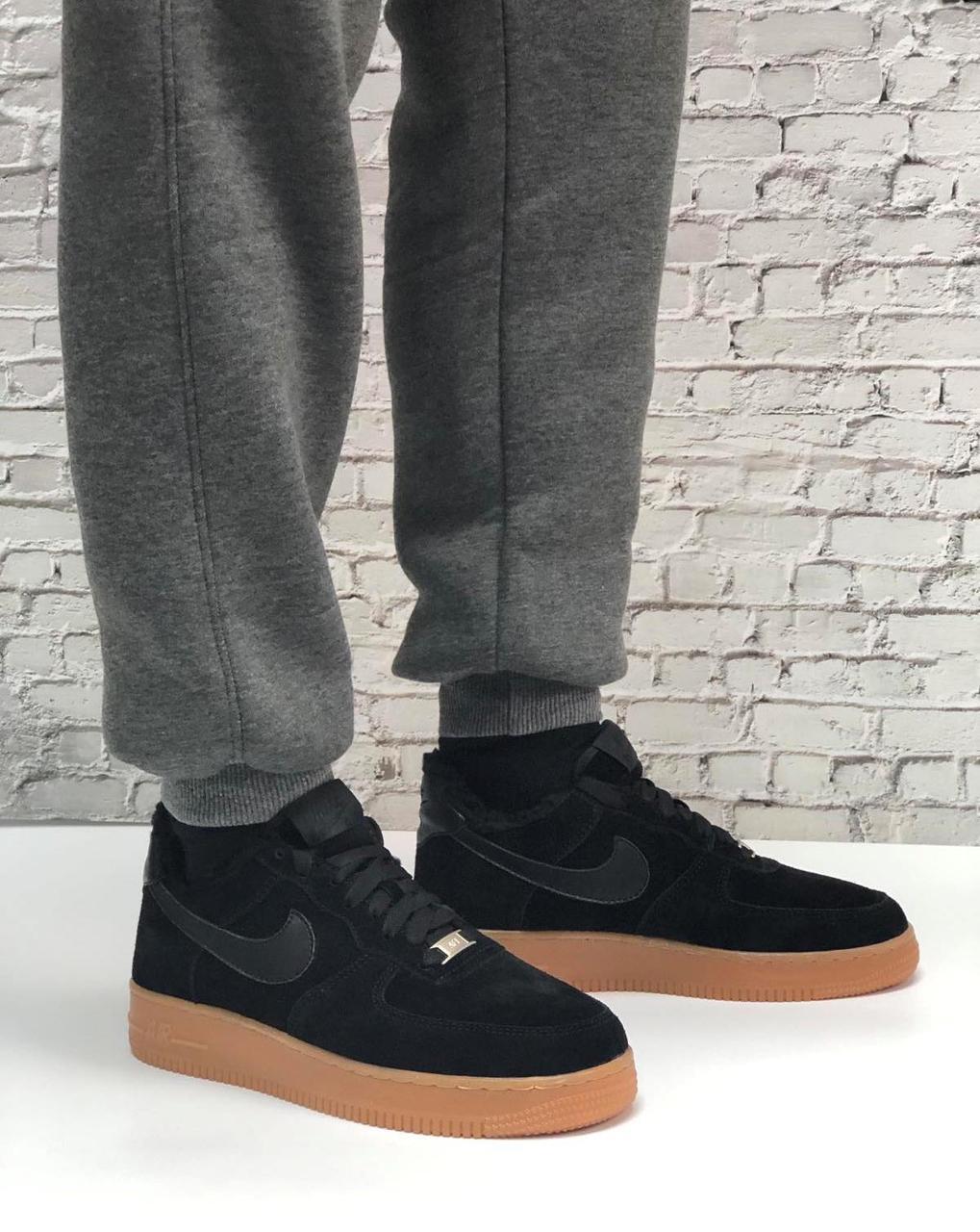 Кроссовки женские зимние Nike Air Force low black (Реплика ААА)