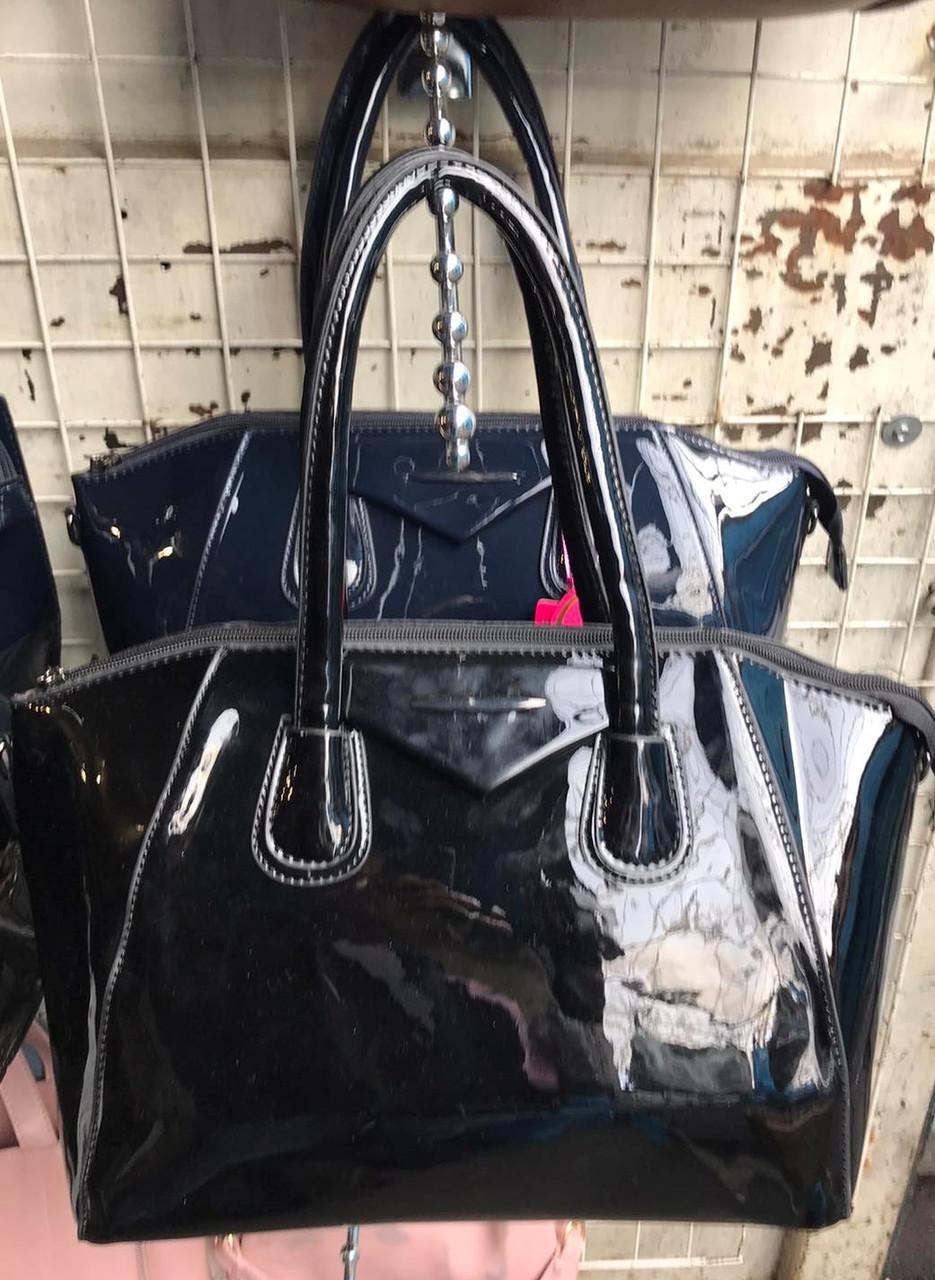 Стальная женская сумочка лаковая черного цвета