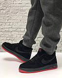 Кроссовки мужские зимние Nike Air Force low Black/Red (Реплика ААА), фото 4