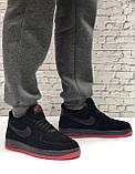 Кроссовки мужские зимние Nike Air Force low Black/Red (Реплика ААА), фото 3