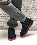 Кроссовки мужские зимние Nike Air Force low Black/Red (Реплика ААА), фото 5