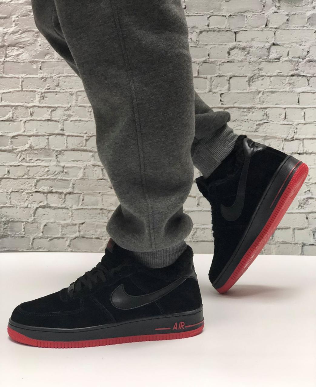 Кроссовки мужские зимние Nike Air Force low Black/Red (Реплика ААА)
