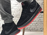 Кроссовки мужские зимние Nike Air Force low Black/Red (Реплика ААА), фото 7