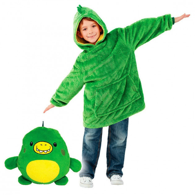Детская толстовка-халат плед трансформер  с капюшоном и рукавами Huggle Pets Hoodie Динозаврик.