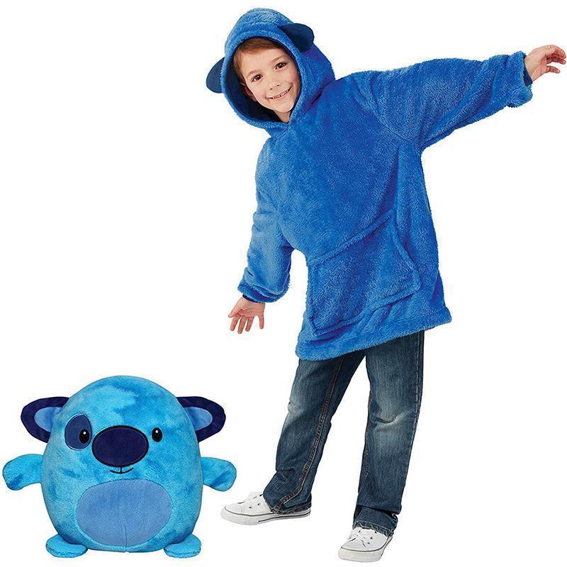 Детская толстовка-халат плед трансформер  с капюшоном и рукавами Huggle Pets Hoodie Собачка.