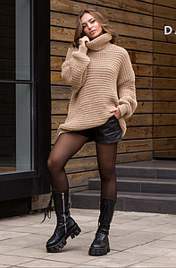 Теплый вязаный свитер оверсайз «Фристайл»  (беж)