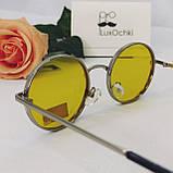Ексклюзивні круглі поляризовані фотохромні(хамелеон) окуляри з жовтою лінзою, фото 4