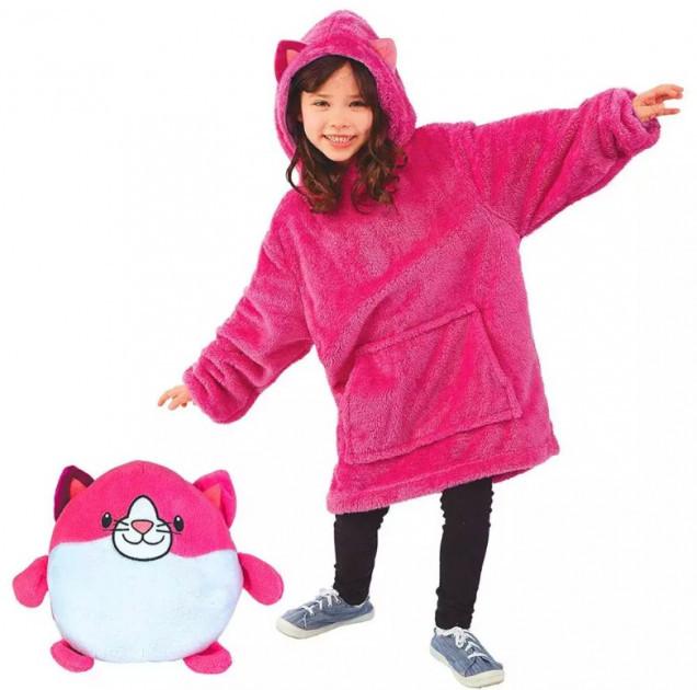 Детская толстовка-халат плед трансформер  с капюшоном и рукавами Huggle Pets Hoodie Котик.