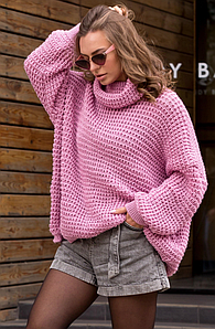 Теплый вязаный свитер оверсайз «Фристайл»  (темно-розовый)