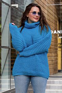 Теплый вязаный свитер оверсайз «Фристайл» (бирюза)