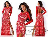 Длинное гипюровое платье с разрезом, 3 цвета