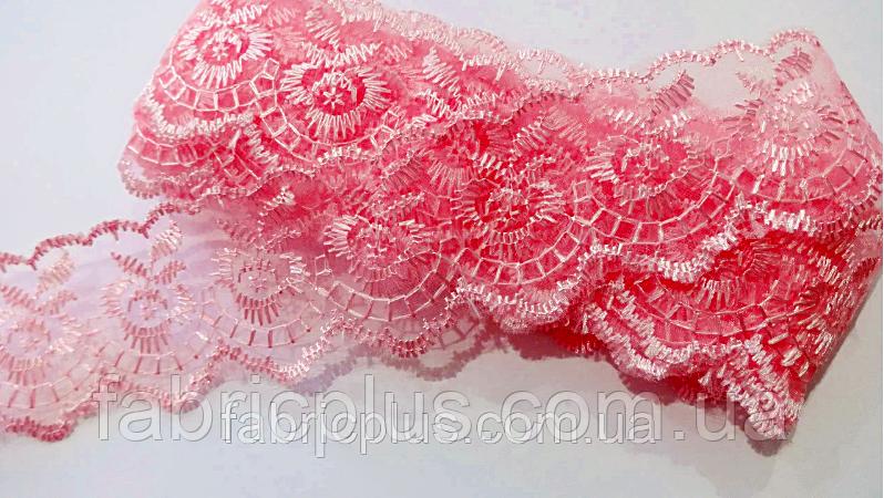 Кружево органза-шитье 40 мм (ярко-розовый)