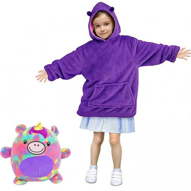 Детская толстовка-халат плед трансформер  с капюшоном и рукавами Huggle Pets Hoodie Единорог.
