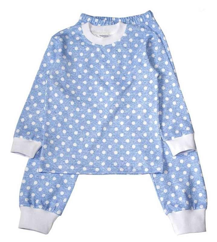 Пижама зимняя утепленая для мальчика, интерлок, рисунок Горох, Inter Kids
