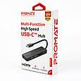 USB-C хаб 4-в-1 Promate LinkHub-C HDMI/2xUSB 3.0/SD/MicroSD Black, фото 7