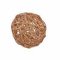 Ялинкова прикраса куля Yes Fun ротанговий d-5см золотий (973324)