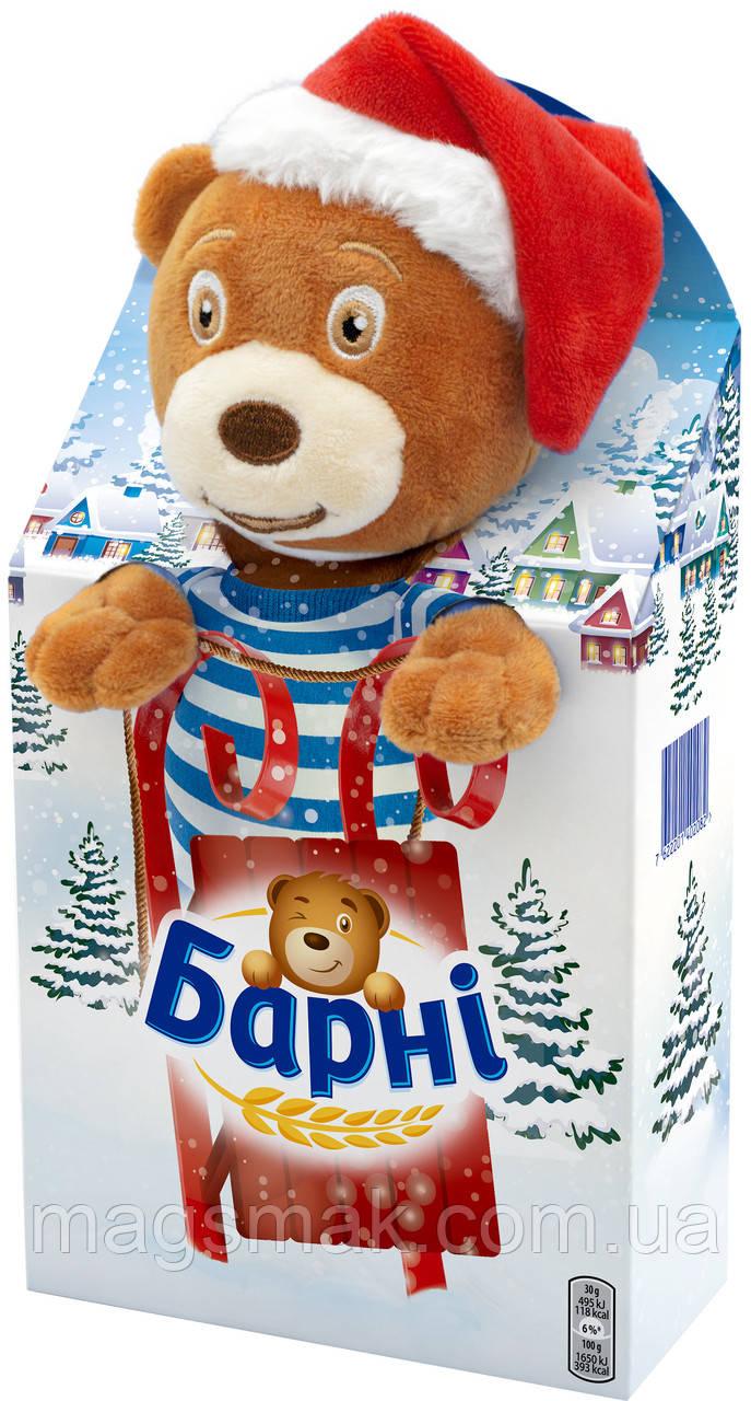 Подарочный набор с мягкой игрушкой Барни Бисквит Мишка с шоколадной начинкой 90 г