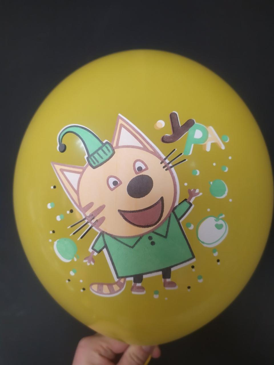 """Латексна кулька з малюнком Котик у зеленій футболці ( Три кота ) 12"""" 30см Малазія ТМ """"Шар експерт"""""""