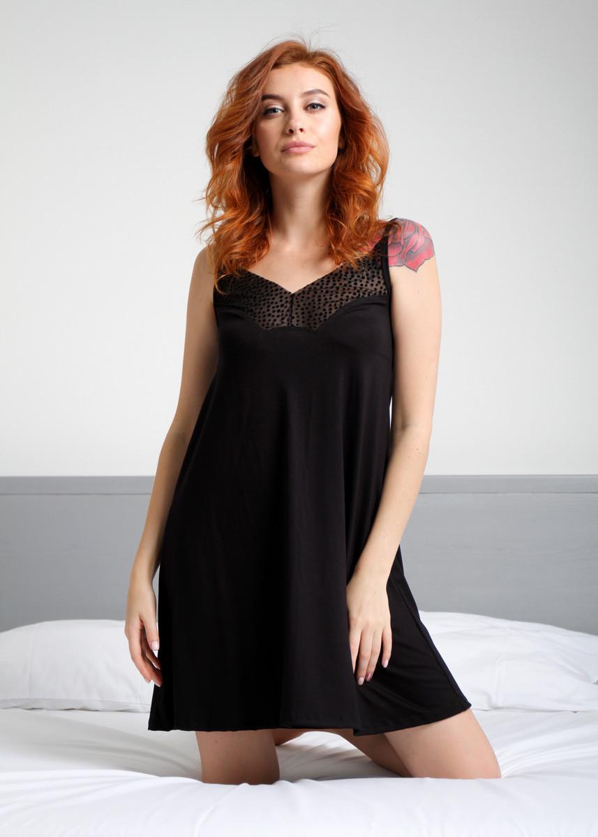 Женская ночная рубашка,короткий рукав с кружевной вставкой выше груди N.EL