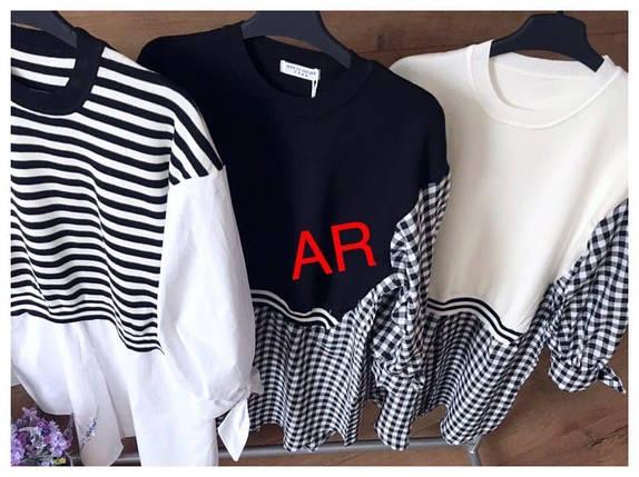 Стильная туника-рубашка трендовых расцветок оверсайз 42-46 р, фото 2
