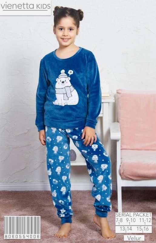 Комплект зимний домашней одежды для девочки (футболка длинный рукав+штаны),,велюр,  Vienetta