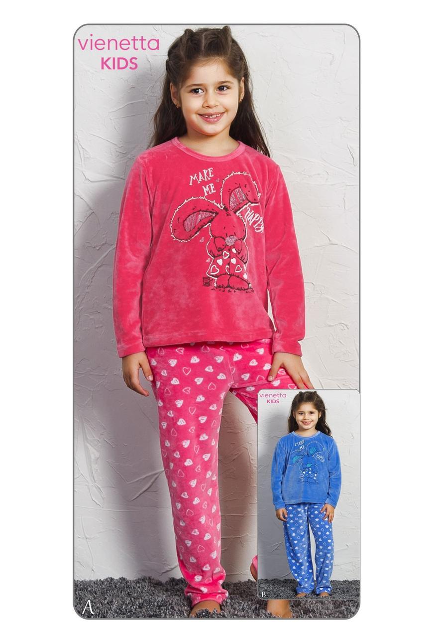 Комплект зимний домашней одежды для девочки (футболка длинный рукав+штаны),, велюр,  Vienetta