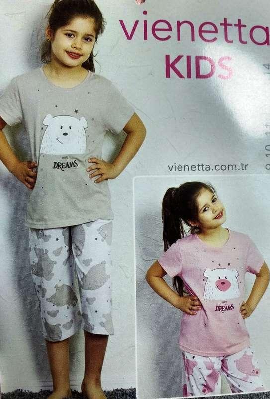 Пижама для девочки  (футболка короткий рукав + бриджи),  х/б, VS