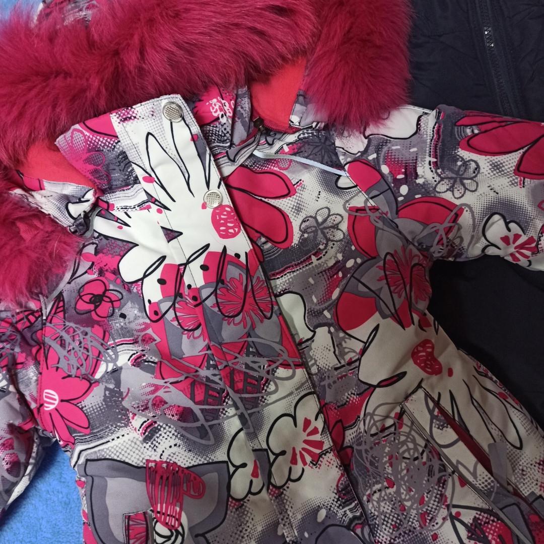 Зимний теплый модный костюм для девочки. В комплект входит термо куртка и штаны полукомбинезон.