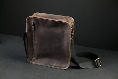 Кожаная мужская сумка Крис, натуральная Винтажная кожа цвет коричневый, оттенок Шоколад