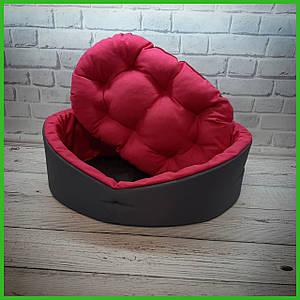 Лежанка для домашних питомцев, животных. Лежак для собак и кошек со съемной подушкой. Цвет: Серый с розовым