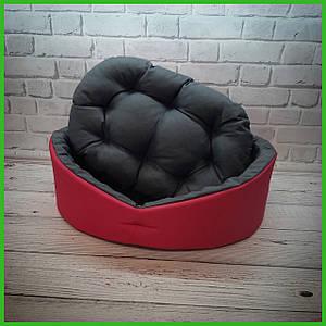 Лежанка для домашних питомцев, животных. Лежак для собак и кошек со съемной подушкой. Цвет: Розовый с серым