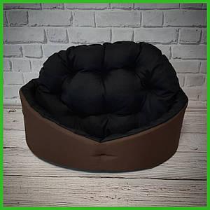 Лежанка для домашних питомцев, животных. Лежак для собак и кошек со съемной подушкой. Цвет Коричневый с черным