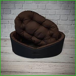Лежанка для домашних питомцев, животных. Лежак для собак и кошек со съемной подушкой Цвет: Черный с коричневым