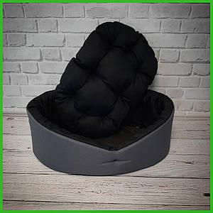 Лежанка для домашних питомцев, животных. Лежак для собак и кошек со съемной подушкой. Цвет: Серый с черным