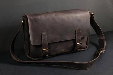 Кожаная мужская сумка Джоерман, натуральная Винтажная кожа цвет коричневый, оттенок Шоколад