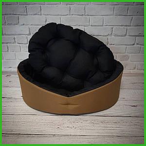 Лежанка для домашних питомцев, животных. Лежак для собак и кошек со съемной подушкой. Цвет: Койот + черный