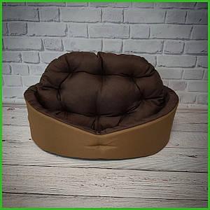 Лежанка для домашних питомцев, животных. Лежак для собак и кошек со съемной подушкой. Цвет: Койот + коричневый