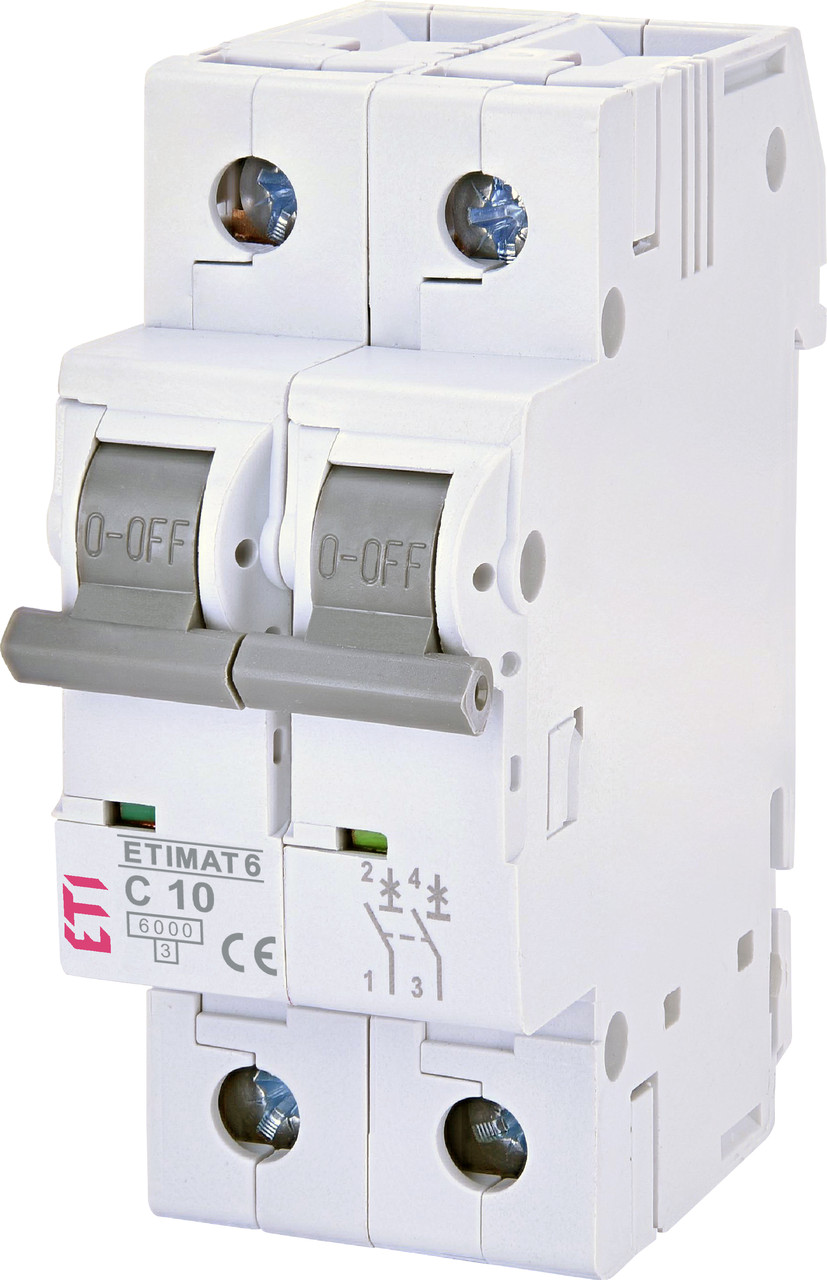 Авт. вимикач ETI ETIMAT 6 2p 10A C 6kA 2143514