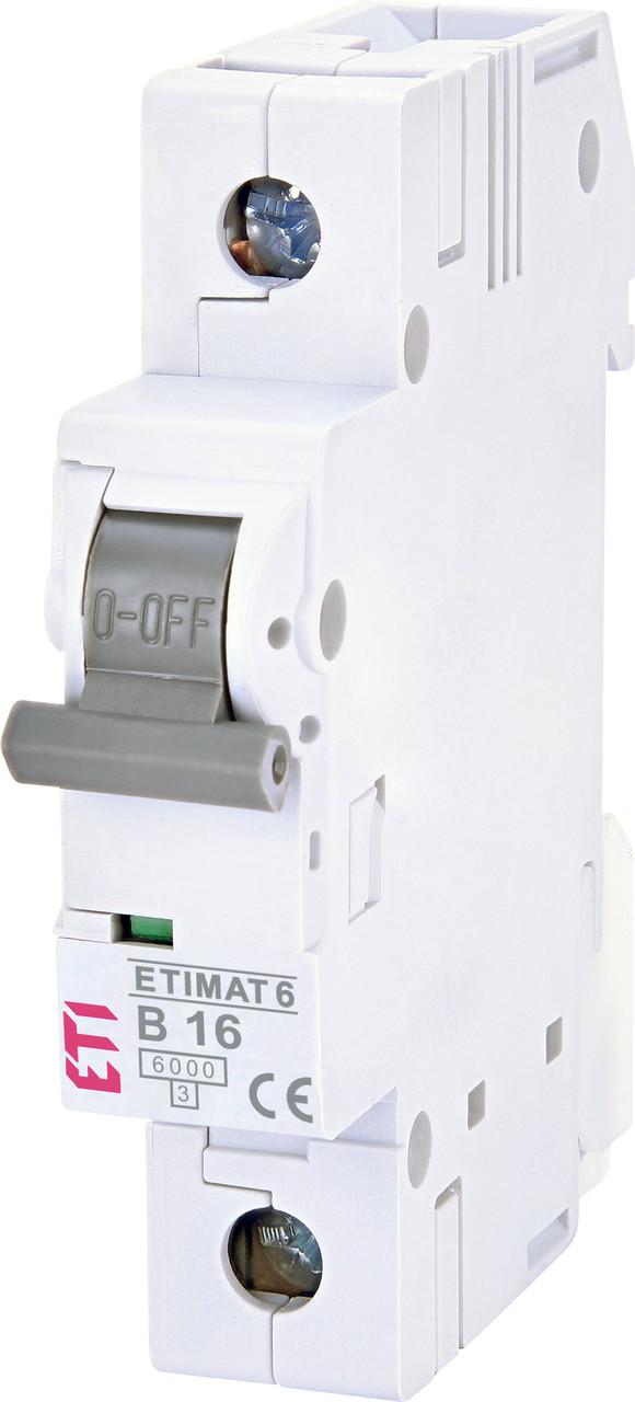 Авт. вимикач ETI ETIMAT 6 1p 16A B 6kA 2111516